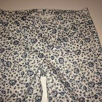 Madewell Skinny Ankle Pants Jeans Floral Size 27 White Blue  Photo