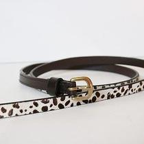 Madewell Skinny Calf Hair Belt Size M-L Medium Large White Brown Leather Jcrew Photo