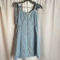 Madewell Sz 0 Chambray Denim Tie Strap Button Front Sundress Blue Er105 Photo