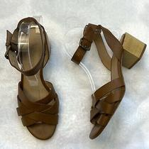 Madewell Sz 8 Camel Brown Leather Strappy Ankle Buckle Block Heel Sandals Womens Photo