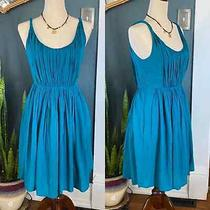 Madewell Teal Sun Isle Pleated Twist Dress Size 6 Photo