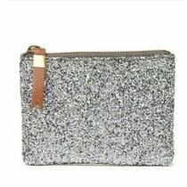 Madewell the Leather Pouch Zip Top Small Wallet Clutch in Silver Nwt Photo