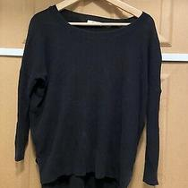 Madewell Thin Black Cotton Pullover Sweater Side Slit Drop Sleeve Size Xs Photo