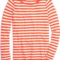 Madewell Twill Tape Slub Tee in Stripe in Orange (Modern Orange) Nwot Xs Jcrew Photo