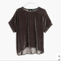Madewell Velvet Bow Tee Dark Gray Size Small Photo