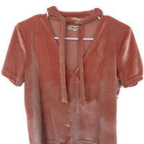 Madewell Velvet Pin Salmon Beige Top With Tie Blouse Size S Small Casual  Photo
