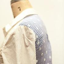 Madewell White Button Down Shirt With Pinstripe Polka Dot Contrast on Back Photo