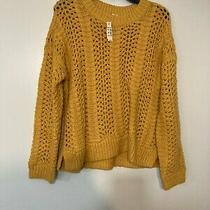Madewell Windemere Pointelle Pullover Sweater Size Medium Yellow Wool Blend Photo