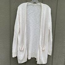Madewell Women Cream Ribbed Open Front Long Cardigan Sweater Size Xs Photo