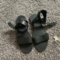 Madewell Women's Size 7 Black the Boardwalk Ankle Strap Flat Sandals Open Toe Photo
