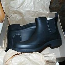 Madewell Women's Size 8 Black Rubber Slip on Chelsea Rain Boots Ankle Height Photo