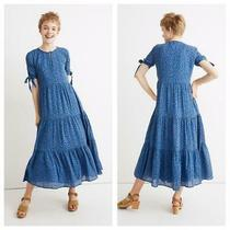 Madewell Women's Tie-Sleeve Tiered Midi Dress in Blue Calico Floral Size L U Photo