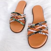Madewell Womens Tracie Crisscross Slide Sandal Snake Embossed Leather Size 8.5 Photo