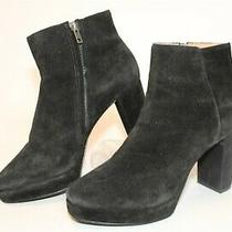 Madewell Womens 9 Black Suede Booties Platform Heels Ankle Boots Photo