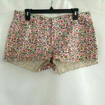 Madewell Womens Jean Shorts White Pink Floral Pockets Flat Front Denim Junior 29 Photo