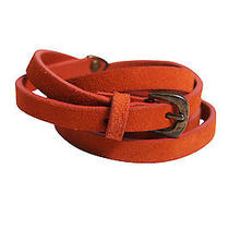 Madewell Womens Orange Thin Soft Leather Brass Buckle Belt M/l 42 New Photo