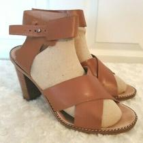 Madewell Womens Size 8.5m  Cognac Brown Leather Sandals Chunky Heel Ankle Strap Photo