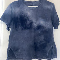 Madewell Womens Small Blue Tie Dye T Shirt With Chest Pocket Loose Fitting Photo
