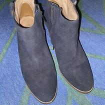 Madewell Womens Us Size 9 Navy Blue Suede Leather Side Zip Boots Photo