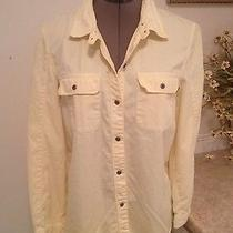 Madewell Yellow Button Front Shirt Blouse Top Size M  Nice Photo