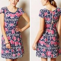 Maeve Anthropologie Peralta Pink Blue White Flared Dress Size 4  Photo