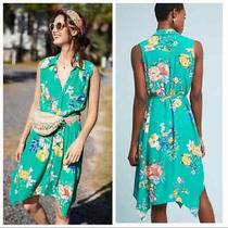 Maeve Anthropologie Rory Shirtdress Casual Shift Dress Size 4 Floral Green Blue Photo