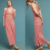 Maeve Anthropologie Women's Bisevo Orange Cream Striped Sleeveless Maxi Dress S Photo