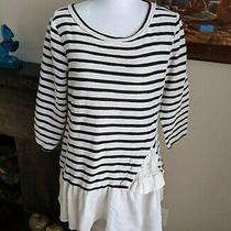 Maeve Anthropologie Women's Peplum Striped Tunic Top Women's Medium Petite Flaws Photo