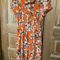 Maeve Anthropologie Womens Silk Floral Print Dress Orange Gray Size 6 Photo