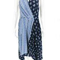 Maeve Anthropologie Womens Sleeveless Paisley Print Asymmetrical Dress Blue 4 Photo