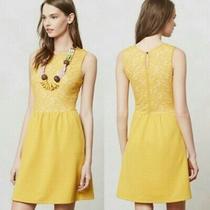 Maeve Anthropologie Womens Xs Yellow Dress Fit & Flare Vera Lace Sleeveless Knee Photo