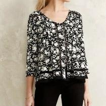 Maeve by Anthropologie Womens Celyn Peasant Top Floral Print Sz 2 Photo