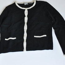 Mag Bloomingdale's Black 100% Cashmere Small Sweater Set White Edges Magaschoni Photo