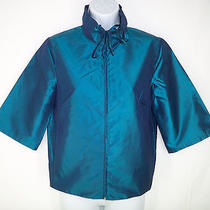 Mag by Magaschoni 2 Jacket Vibrant Bright Blue Taffeta Silk Short Sleeve Zipper Photo