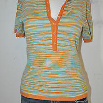 Mag by Magaschoni Size Small Orange Turquoise Short-Sleeve Cashmere Sweater Photo