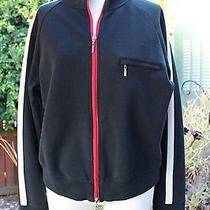 Mag Magaschoni 328 Black With Red White Racer Stripe Ponte Knit Sporty Jacket L Photo