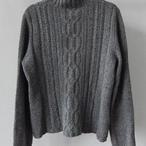 Magaschoni 100% Cashmere Heather Gray Cable Knit  Turtleneck Sweater - Xl Photo