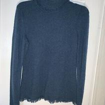Magaschoni 100% Cashmere Teal Green Turtleneck Sweater Fringe Accent Size M Photo