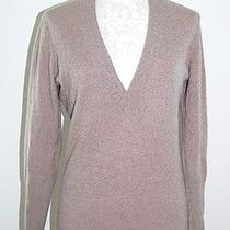 Magaschoni 100% Cashmere Woman's Long Heather Beige v-Neck Sweater S Photo