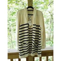 Magaschoni 118 Striped Open Front Pockets Folded Cuffs Cardigan Size Large Photo