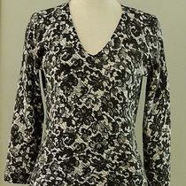 Magaschoni Beige W/black Lace Floral Print v Neck Cashmere Sweater S/m Photo
