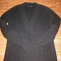 Magaschoni Black 100% Cashmere Cable Knitted Sweater Women Xs Excellent  Photo