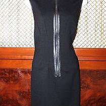 Magaschoni Black Dress With Leather Size 8 Nice Photo