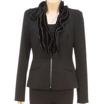 Magaschoni Black Velvet Ruffle Jacket (Size 0) Photo