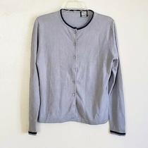 Magaschoni Bloomingdales Women's Cardigan Size Medium M Gray Blue All Season Photo