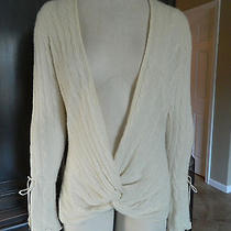 Magaschoni Cable Knit 100% Cashmere Wrap Cardigan Sweater L Photo
