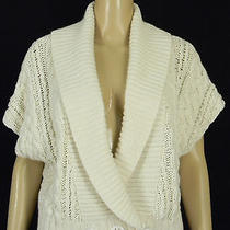 Magaschoni Cardigan Vest Ivory Cable Knit Size M Photo