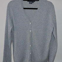 Magaschoni Cashmere Classic Heather Blue v-Neck Cardigan Sweater - L Photo
