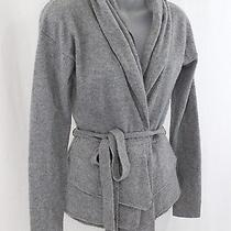 Magaschoni Cashmere Gray Open Front Long Sleeve Sweater Cardigan Top Xs Photo