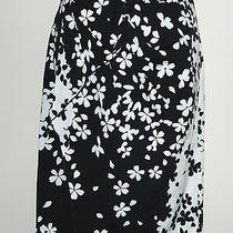 Magaschoni Collection 0 Xs Skirt Black White Faux Wrap Draped Ruffle Pencil Photo